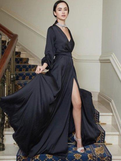 Длинное нарядное вечернее платье черного цвета, фото 1