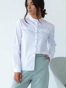 Белая классическая женская рубашка с воротником стойкой