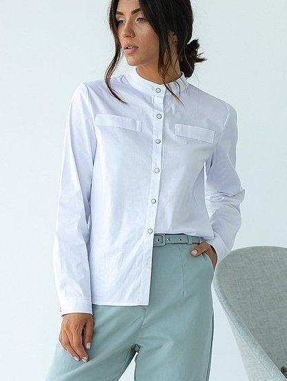 Белая классическая женская рубашка с воротником стойкой, фото 1
