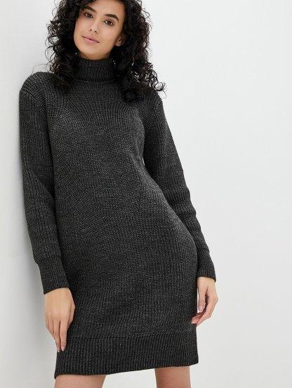 Вязаное темно-серое теплое платье на длинный рукав с горловиной, фото 1