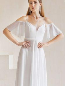 Нарядное белое платье в пол на тонких бретелях