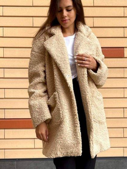 Женская шерстяная бежевая шубка пальто с поясом, фото 1