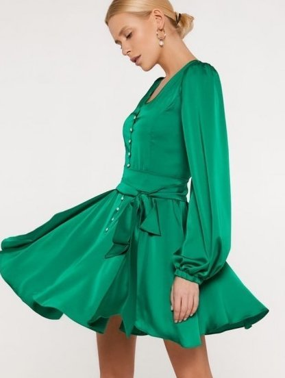 Шелковое короткое зеленое платье с длинным рукавом и поясом-бантом, фото 1