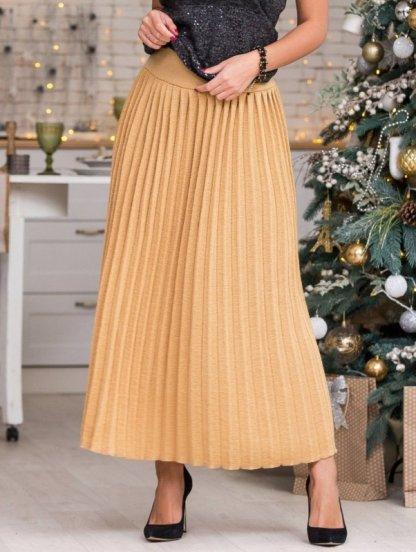 Вязанная юбка плиссе с широким поясом горчичного цвете, фото 1