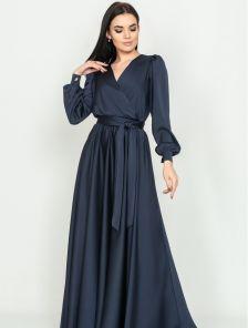 Длиннное вечернее темно-синее платье с длинным рукавом