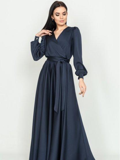 Длиннное вечернее темно-синее платье с длинным рукавом, фото 1