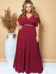Вечернее длинное шифоновое платье большого размера бордового цвета