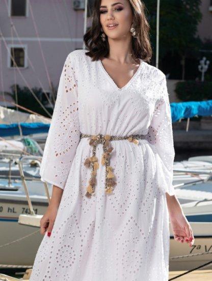 Платье с перфорацией из лёгкого высококачественного хлопка длинное, фото 1
