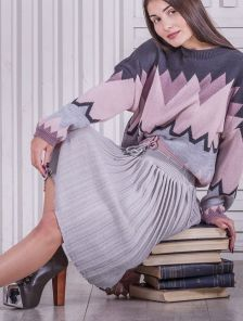 Вязанная юбка плиссе серого цвета