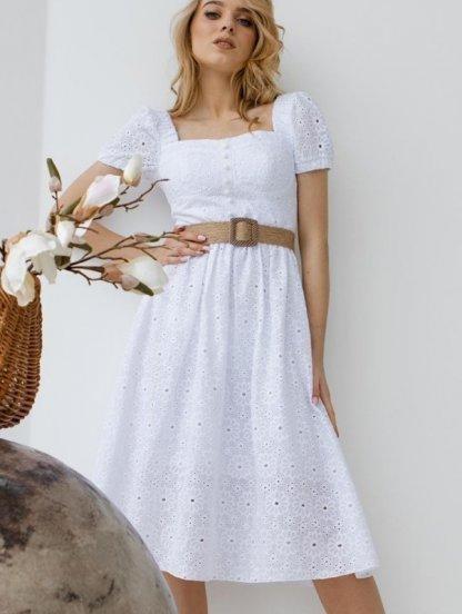 Летнее, белое, ажурное платье , с коротким рукавом и фактурным поясом, фото 1
