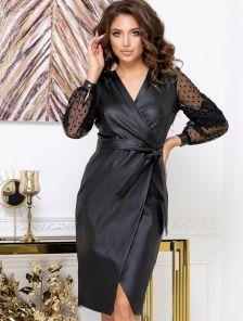 Черное платье футляр миди длины в больших размерах