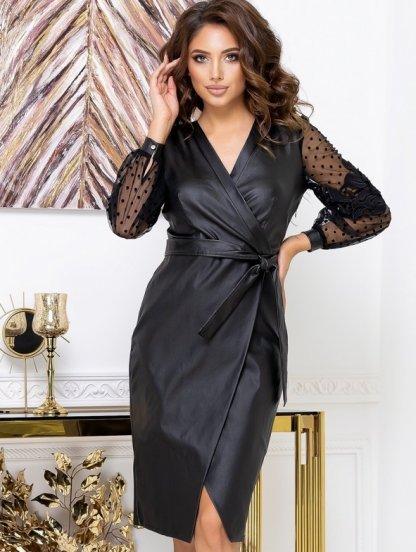 Черное платье футляр миди длины в больших размерах, фото 1