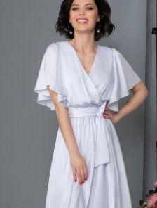 Нарядное шелковое белое платье в пол, юбка-солнце с разрезом