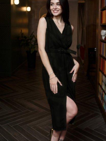 Черное платье на лето миди с поясом, фото 1