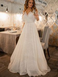 Нарядное блестящее шифоновое белое платье большого размера в пол