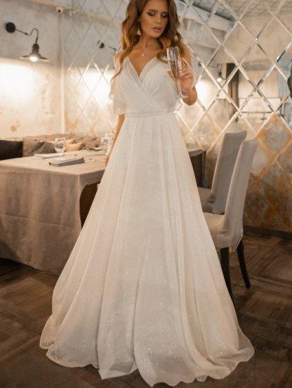 Нарядное блестящее шифоновое белое платье большого размера в пол, фото 1