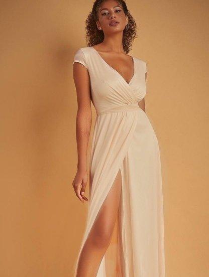 Вечернее платье золотистого цвета большого размера в пол под пояс, фото 1