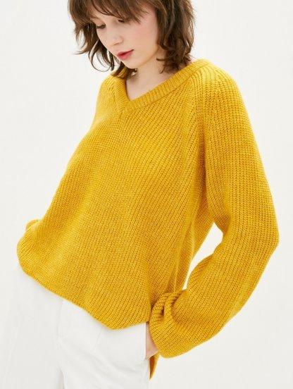 Желтый теплый свободный джемпер с V-образным вырезом, фото 1