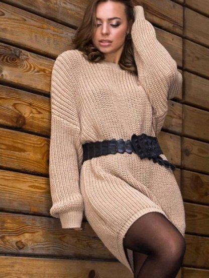 Теплая вязаная туника-платье бежевого цвета, фото 1