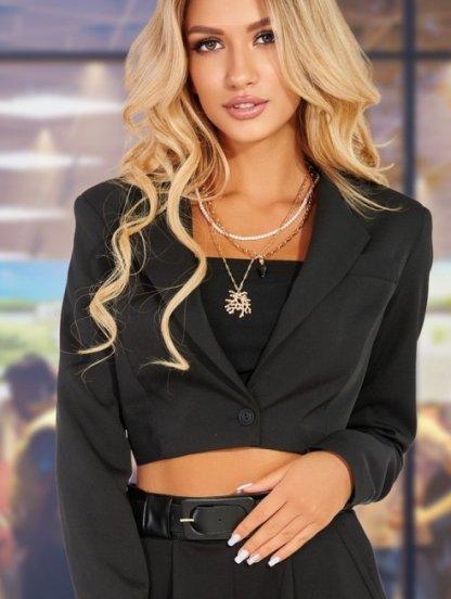 Черный женский укороченный пиджак - жакет на платье, фото 1