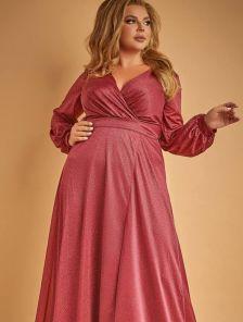 Длинное блестящее платье в пол с длинным рукавом