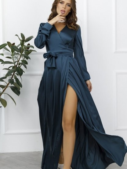 Длиннное вечернее изумрудное платье с длинным рукавом, фото 1