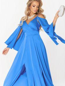 Длинное шелковое платье електрик цвета с летящим рукавом
