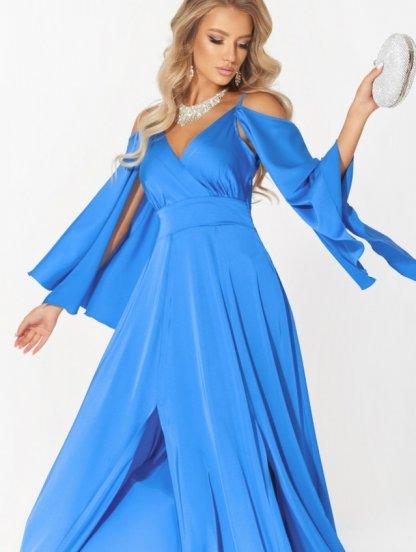 Длинное шелковое платье електрик цвета с летящим рукавом, фото 1