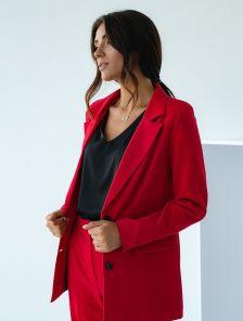 Красный классический женский брючный костюм двойка с пиджаком