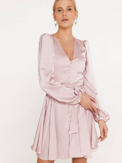 Шелковое нарядное короткое платье, с длинным рукавом и поясом-бантом, фото 1