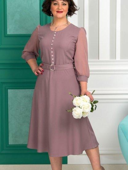 Комбинированное лиловое миди-платье с длинным рукавом на манжете, под поясок, фото 1