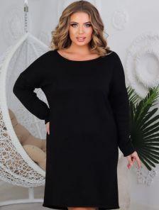 Теплое черное платье свободного кроя