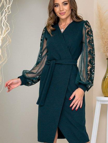 Темное платье футляр миди длины в больших размерах, фото 1