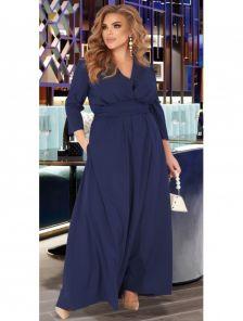 Длинное стильное платье темно-синего цвета с рукавом большого размера