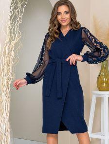 Синее платье футляр миди длины в больших размерах