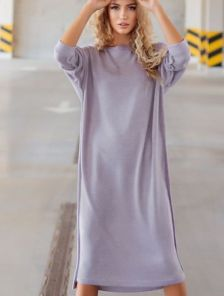 Прямое серое платье миди длины