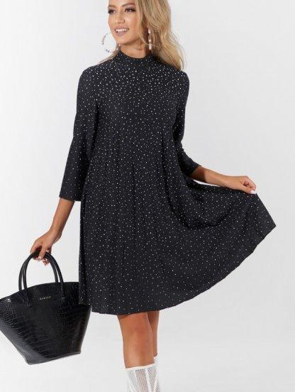 Модное короткое черное платье в складку гофре и белый горошек, фото 1