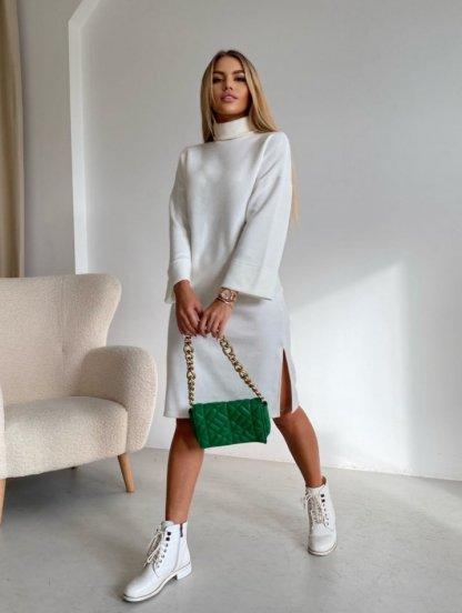 Теплое белое платье свободного кроя, фото 1