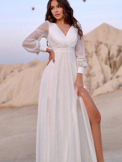 Нарядное блестящее шифоновое белое платье в пол, фото 1