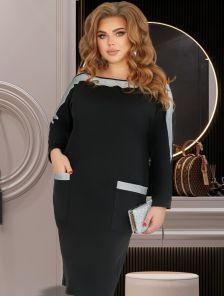 Модное платье с карманами черного цвета