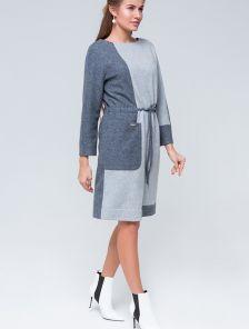 Теплое серое шерстяное платье, 70% шерсти