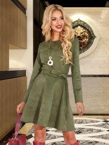 Замшевое платье с рукавом цвета хаки