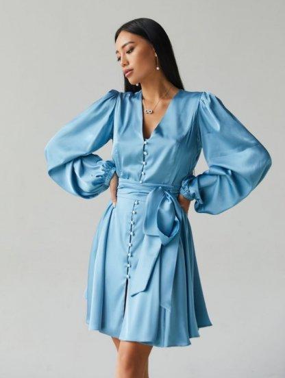 Шелковое короткое синее платье с длинным рукавом и поясом-бантом, фото 1