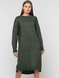 Вязаное зеленое платье длины миди свободного кроя