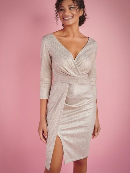 Нарядное короткое коктейльное платье с имитацией запаха, фото 1