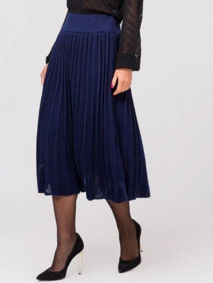 Вязанная юбка плиссе синего цвета, фото 1