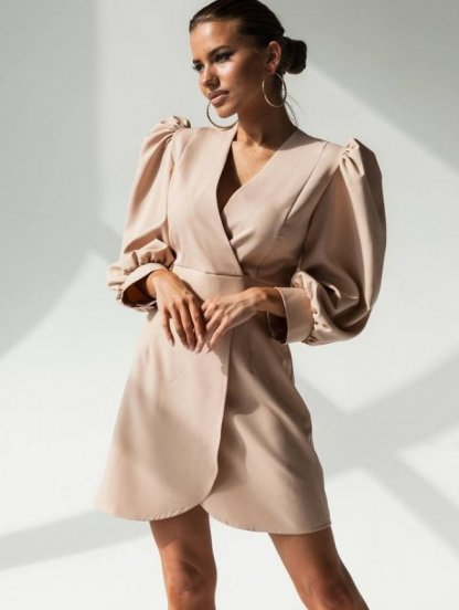 Бежевое нарядное платье с длинным рукавом, фото 1