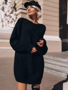 Теплая вязаная туника-платье черного цвета
