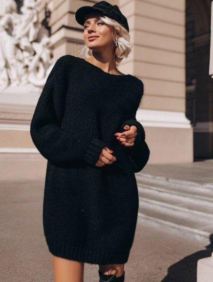 Теплая вязаная туника-платье черного цвета, фото 1