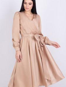 Нарядное бежевое шелковое платье миди на длинный рукав